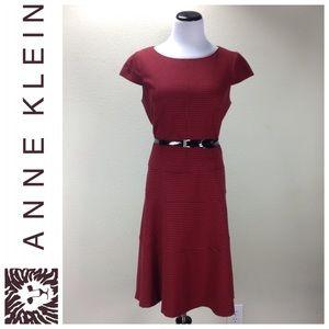 Anne Klein Red & Black Houndstooth A-Line Dress